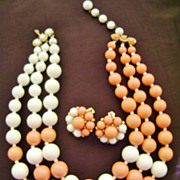Vintage MARVELLA Demi - Coral & White Multi-Strand & Cluster Clip Ears