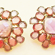 MONET Shades of Purple Faceted Glass Cluster Clip Earrings