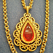 Vintage AVON Double Chain Scroll Work Pendant w/Orange Rhinestone