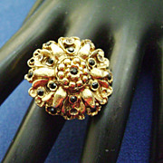 Large Gold Tone w/Black Stone Flower Ring - Adjustible Band