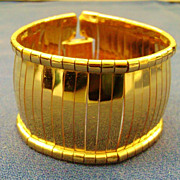 Vintage NAPIER Wide Mirror Link Cuff Gold Tone Bangle