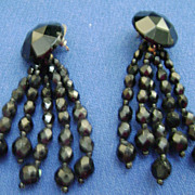 Black Jet Vintage Dangle Pierced Earrings