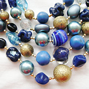 5-Row Vintage Glass MultiStrand Necklace, Variety Blue & Gold Beads