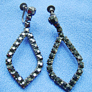 Stunning Japanned Black Rhinestone Dangle Screw Back Earrings
