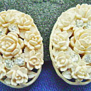 Vintage Celluloid Rosette & Rhinestone Clip Earrings