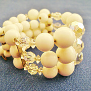 White Milk Glass & Clear Crystal 3-Strand Wrap Bracelet