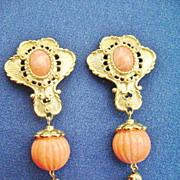 Avon BARRERA Vintage Dangle Clip Earrings-Gold Tone w/Coral Color Beads