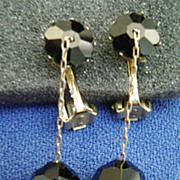 Vintage Black Rhinestone Dangle Clip Earrings