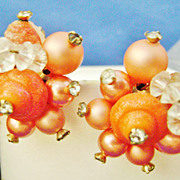 VENDOME Vintage Coral Beaded Cluster Clip Earrings