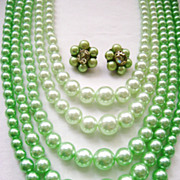 SOLD 5-Strand Graduated FAUX Pearl Spring Green Multi+Cluster Clips