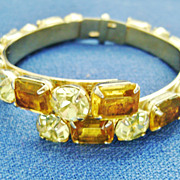 Stunning Vintage Lemon & Jonquil Rhinestone Clamper Bracelet