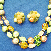 Gorgeous Vintage Japan Multistrand Citrus Color Glass Beads + Bonus Clips