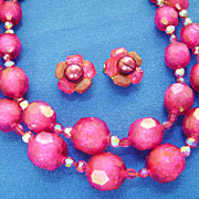 Chunky Vintage Fuschia Bead MultiStrand w/Crystal Spacers & Clip Earrings