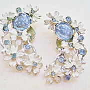 Vintage Floral Clip Earrings in White Enamel w/Blue Jelly & Rhinestones