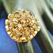 Large Topaz Rhinestone Cluster Ring - Size 5 - Vintage