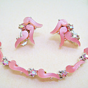 Pink Thermo Plastic & Pink Rhinestone Demi - Choker & Clips