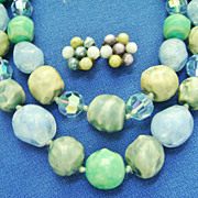 Vintage Shades of Blue Stone & Crystal MultiStrand - Hand Knotted