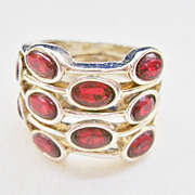 Gold Tone 5-Row Red Stone Ring - Size 7