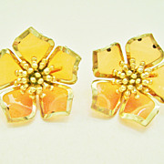 Large Burnt Orange & Gold Tone Flower Clip Earrings