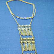 Long Vintage 2-Tone, 3-Tiered Multiple Tassel Pendant Necklace