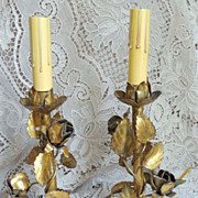 ITALIAN Florentine Floral Rose Vintage Candlestick Lamps