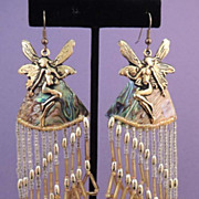 Vintage Gold Fairies Abalone and Long Drop Bead Duster Earrings FABULOUS