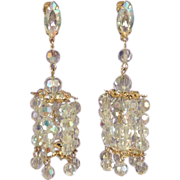 RUNWAY Crystal Bead Long Drop Vintage Chandelier Bridal Earrings