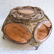SOLD Ornate Vintage Leaf and Glass Ormolu Jewelry Casket Box