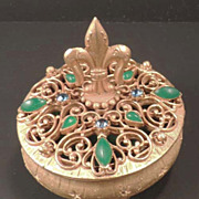 SOLD FLORENZA  Jade Green Jeweled Rhinestone Vintage Trinket Ring Box - Signed