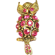 Horned Owl Brooch - Vintage Sparkling Raspberry Crystal