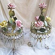 ITALIAN Rose Floral Crystal Lamps - Boudoir Lamps