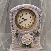 ELFINWARE Clock - Rare Vintage German Porcelain Rose Floral Clock Decorative Arts Elfin Ware
