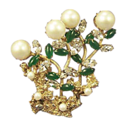 Vintage Floral Pearl Jade Rhinestone Brooch