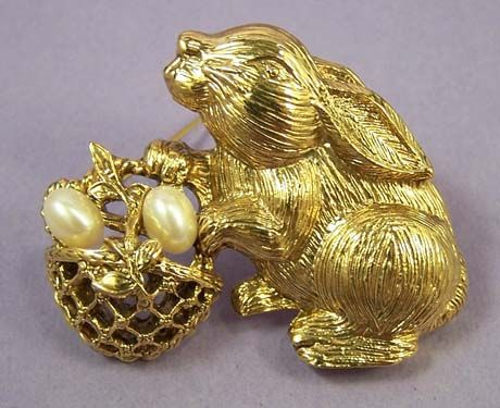 1928 Vintage Bunny Rabbit with Basket of Pearl Eggs Brooch
