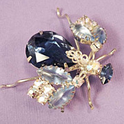 Vintage Fly Blue Rhinestone Bug Insect Brooch - Wow!