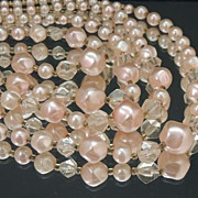 Exquisite Vintage 4 Strand Petal Pink PEARL Glass Bead NECKLACE