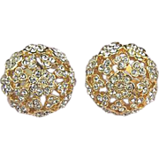 Exquisite Vintage Floral Rhinestone Button Earrings