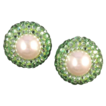 RICHARD KERR Style Vintage Green Rhinestone and Pearl Earrings
