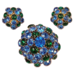 Vintage Blue and Emerald Green Rhinestone Brooch and Earrings Set
