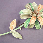 Vintage 1950's Enamel Flower Brooch - Pink Lilac Green