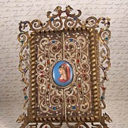 Antique Rhinestone Portrait Porcelain Framed Mirror