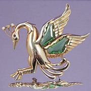 SOLD ART DECO Stylized Bird in Flight Green Crystal Brooch