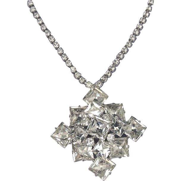 1940's Brilliant Square Rhinestone Pendant Necklace