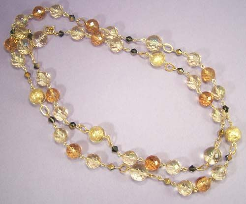 "Luminous 41"" Honey & Clear Crystal Bead Necklace"
