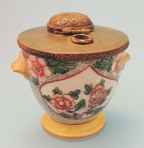 Antique Inkwell Hand Painted Floral Pink Gold Green Porcelain Brass Inkwell Signed