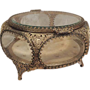Jewelry Casket - Vintage Ornate Glass Ormolu Trinket Box with 6 Sides