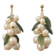 Vintage Green Lucite and Pearl Bead Long Drop Dangle Earrings