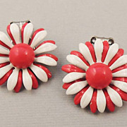 Vintage Red and White Enamel Floral Earrings