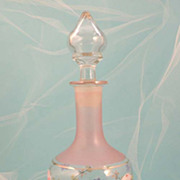 French Vintage Hand Painted Floral Glass Cologne Perfume Bottle Decanter