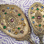 SOLD Vintage French Filigree Jeweled Vanity Hand Mirror Brush Set - Exquisite